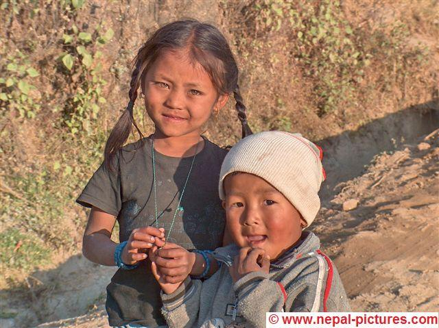 Nepali girl with brother