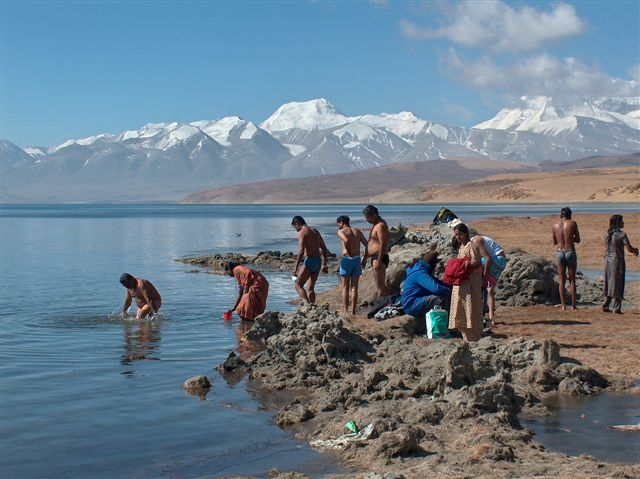 Indian Pilgrims Lake Manasarovar Tibet