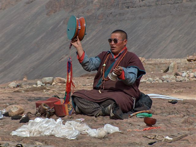 Monk at sky burial place